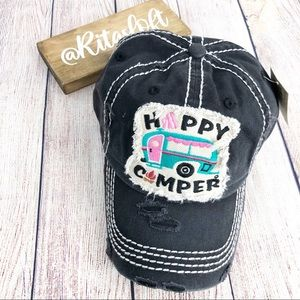"""""""HAPPY CAMPER"""" Embroidered, Vintage Style Ball Cap"""